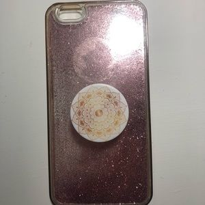 glitter case with pop socket for iphone 6s plus